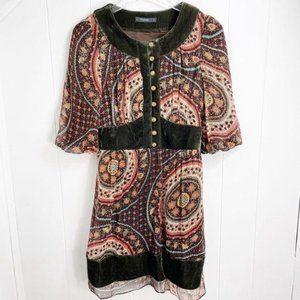 THEME ANTHRO Boho Velvet Trim Paisley Print Dress